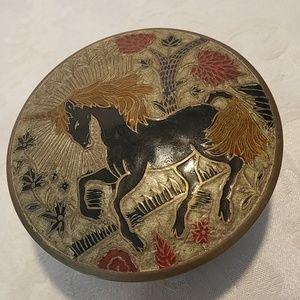 Vintage Enesco Enamel and Brass Unicorn Dish